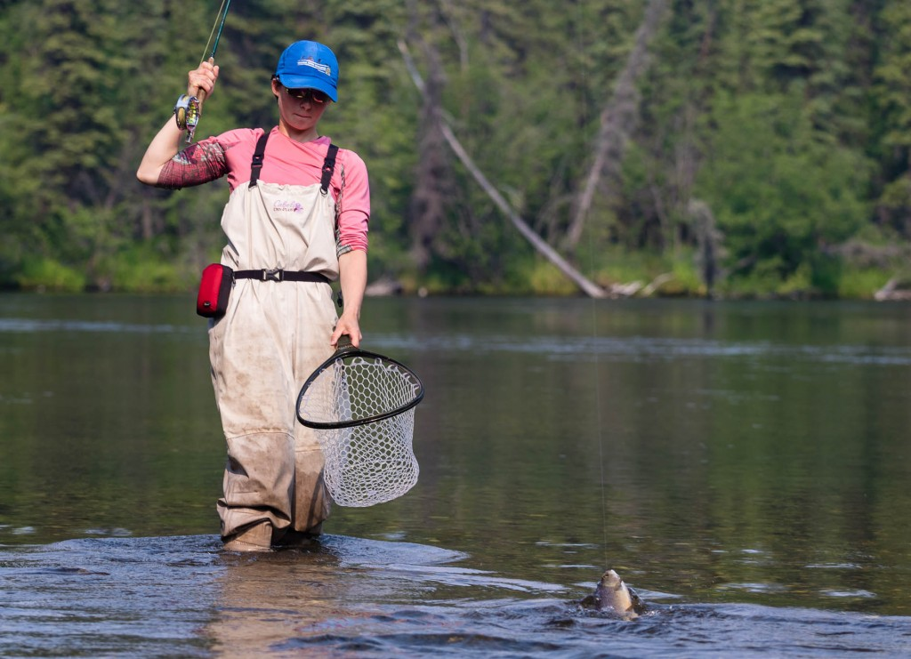 Sierra bringing a nice grayling to the net